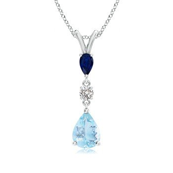 Angel Aquamarine Blue Turquoise Sapphire and American Diamond Valentine Silver Pendant for Girls, Women,girlfriend AP2011 (With Silver Chain)