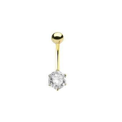 Solid 14k Gold Belly Button Bar with Clear Jewel