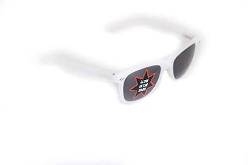 Wayfarer Nerd-Brille leuchtend Weiß Sonnen-Brille ohne Sehstärke 15cm Herren Damen Unisex...