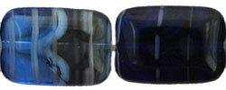 Czech Polished Rectangle Table Cut Beads 12/8mm HurriCane Glass - Dark Sky (10)