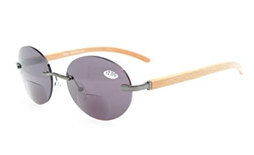 Eyekepper Spring Scharniere Holz Arme Randlos rund Bifokal Sonnenbrille