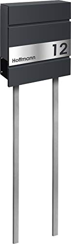 frabox Design Briefkasten Lens Anthrazitgrau Edition mit Standrohren, Stand zum Einbetonieren