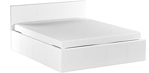 EuropeDirectShopping Lit Coffre | Luna Ottoman | Blanc | 160x200 | 800 litres d'espace de Stockage | Tête de lit Detachable