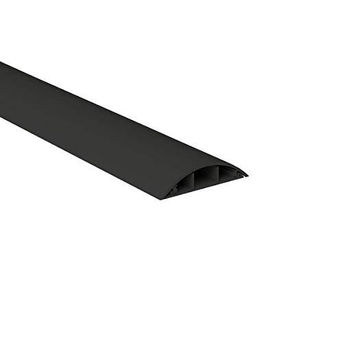 Habengut Fußboden-Kabelführung aus PVC Schwarz, halbrunde Kabelbrücke für bis zu 3 Kabel / Breite 7,5 cm, Länge 1 m (Coach Hat)