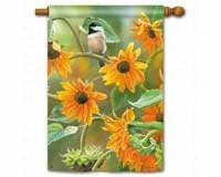 Sunflower Chickadee Standard Flag -