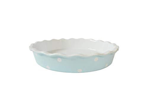 Isabelle Rose - IR5523 - Tarte/Quiche Form - Keramik -pastelblau, blau mit weißen Punkte - Polka Dot