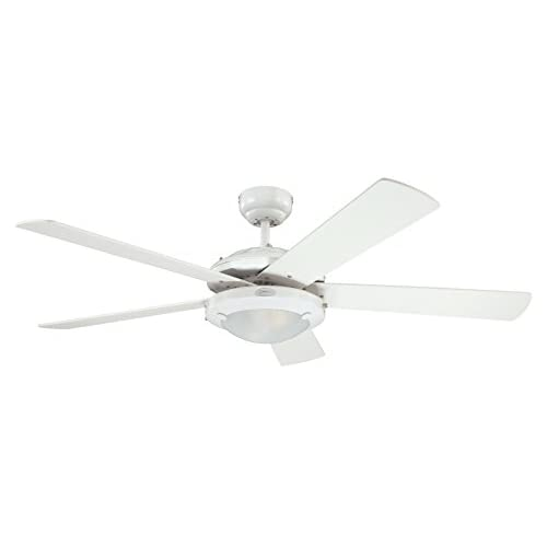 21VfpNGqksL. SS500  - Westinghouse Ceiling Fans 78017 Comet One-Light 132 cm Five Indoor Ceiling Fan, Frosted Glass, White Finish with…