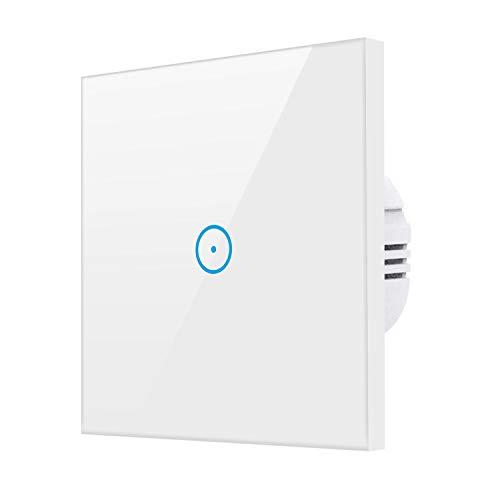 Alexa Wifi Lichtschalter, Smart Lichtschalter für Alexa und Smartphone,gehärtetes Glas Touchscreen-schalter, Timing-Funktion, Überlastungsschutz, kein Hub erforderlich(Weiß 1 Weg)