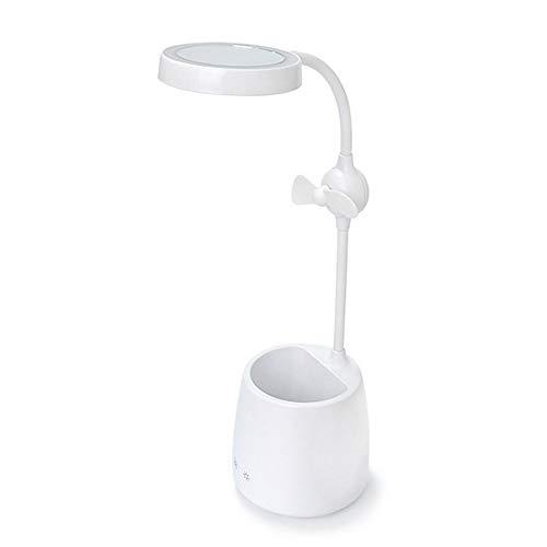 LED wiederaufladbare Schreibtischlampe Verstellbare Touch Leselampe Leuchttisch mit Stifthalter Mini Fan Schminkspiegel