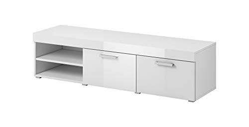 EGLEMTEK Mobile Mobiletto TV Savan da Soggiorno Sala da Pranzo Studio Moderno Design 120 x 40 x 42 cm Bianco