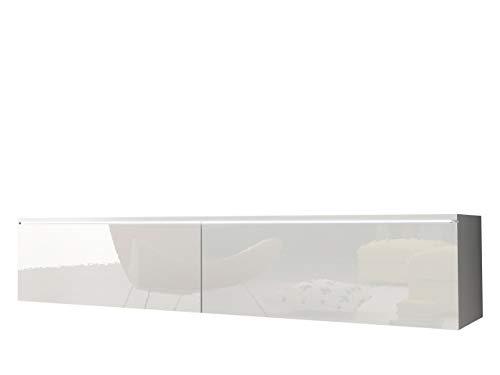 Mirjan24  TV Schrank Stone, Fernsehschrank, TV Lowboard, Grifflose Öffnen, Hängeschrank Hochglanz Matt Wohnwand (Weiß/Weiß Hochglanz, Modell: 140 / ohne LED Beleuchtung)