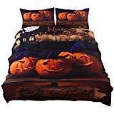 ktlrr Halloween Betten Set Geschenk 3D Print Zombies Bettbezug Set Twin/Full/Queen/King Size 4-Teilig Festival Dekoration Betten, Polyester-Mischgewebe, Pattern#01, Queen -