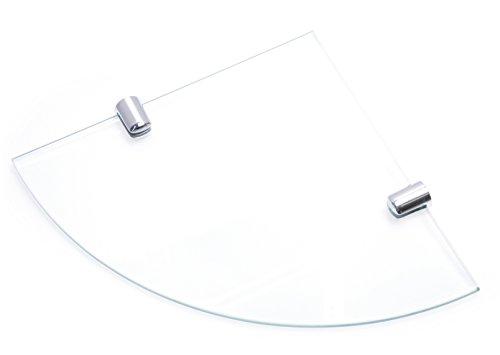 Mensola angolare con supporti, in vetro temperato, per bagno, camera o ufficio, con finitura cromata, 150 mm, spessore 6 mm