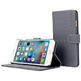iPhone 6 Plus Case, Snugg® - grau Leder iPhone 6 Plus Flip Case [Lebenslange Garantie] Premium Wallet Phone Cover mit Card Slots für Apple iPhone 6 Plus