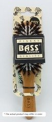 Brush - Purse Size Oval Cushion 100% Wild Boar Bristles Light Wood Handle Bass B by Bass Brushes (English Manual)