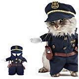 UEETEK Funny Hund Katze Jeans Uniform Haustier Kleidung Kostüm Kleid Cosplay für Party canival, Größe M (Innerhalb - Polizei Hunde Haustier Kostüm