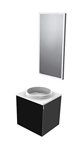emco asis Gäste WC, Waschtischset Schwarz bestehend aus 958227414 und 919606040
