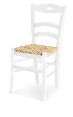 Sedia sedie legno col. bianco opaco seduta paglia x cucina provenzale