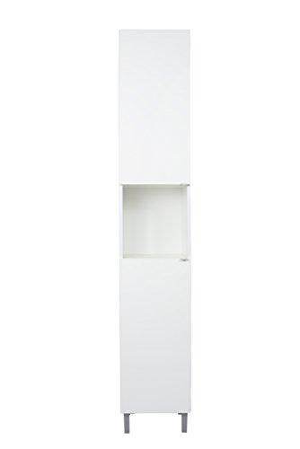 SAM Bad-Hochschrank Milan, Hochglanz weiß, 2 Türen & offenes Fach, pflegeleichtes Badmöbel, Badezimmerschrank 182 x 32 x 33 cm
