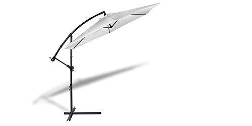 909 OUTDOOR Parasol déporté inclinable Blanc, Parasol Jardin décentralisé, Parasol Suspendu en Polyester et Structure métallique, Hauteur 2.5m Diamètre 3m