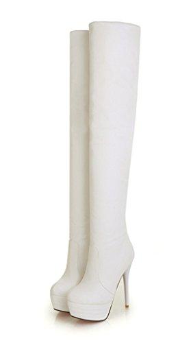 YE Damen Overknee High Heels Plateau Stiletto Stiefel mit Rote Sohle 13CM Heels Absatz Leder Wasserdicht Winterschuhe Weiß