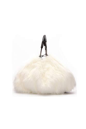 Howoo donne inverno grande pelliccia ecologica borsa a tracolla maniglia circolare felpa borsetta soffice borsa a tracolla bianca