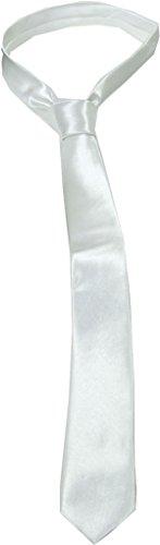 Erwachsene Herren James Bond Hochzeit Kostüm Beerdigung Party Schmal Schmale Krawatte - Weiß, One size