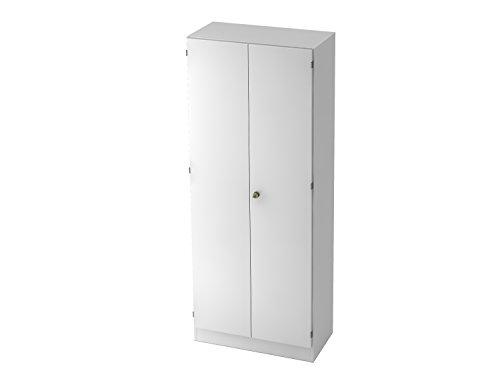 Bümö® Office Aktenschrank abschließbar aus Holz inkl. 4 Einlegeböden | Büroschrank – Büro Schrankwand System (Aktenschrank | 5 Ordnerhöhen, Weiß)