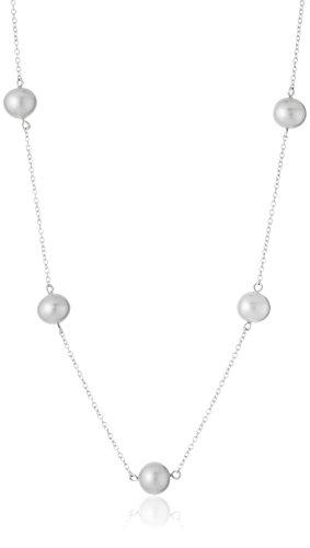 Bella Pearl  -  925 platiniert Halbrund - Tin Cup-halskette