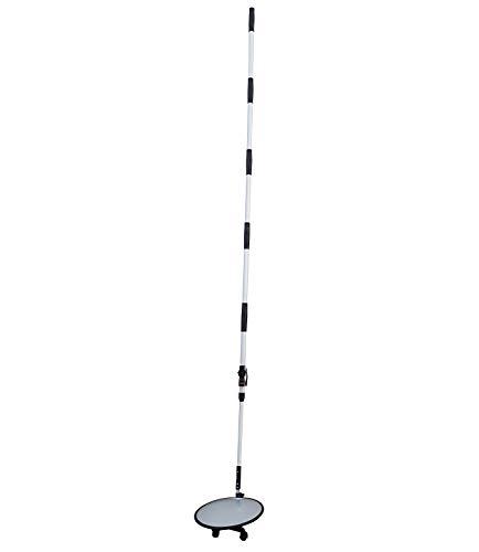 SNS SAFETY LTD VIM-30 Tragbarer konvexer Inspektionsspiegel aus Acryl für Fahrzeuginspektionen, 30cm Durchmesser mit von 122 cm auf 275 cm ausziehbarem Griff und 3 Rollen