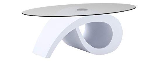 AVANTI TRENDSTORE - Stacey - Tavolino da salotto, in laminato di colore bianco lucido con piano ovale in vetro trasparente, dimensioni: LAP 120x41x70 cm
