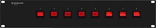MONACOR MCS-180 Rack-Steckdosenleiste mit 8 Schutzkontaktsteckdosen, schwarz -