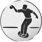 S.B.J - Sportland Pokal/Medaille Emblem, Motiv Boßeln, Durchmesser 50 mm, silber