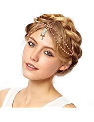 Metme Flapper Stirnbänder Kopf Kette Schmuck Kopfschmuck Böhmische Haarschmuck für die Hochzeit Party für Damen