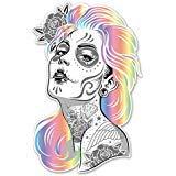 Aufkleber für Macbooks oder Laptops, Motiv Sugar Skull Girl mit Farbigem Haar, 12,7 cm