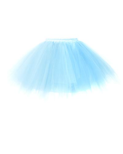 bridesmay Tutu Damenrock Tüllrock 50er Kurz Ballet Tanzkleid Unterkleid Cosplay Crinoline Petticoat für Rockabilly Kleid Light Blue ()