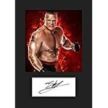 3 Foto mit Passepartout signiert A5 Brock Lesner WWE Nr