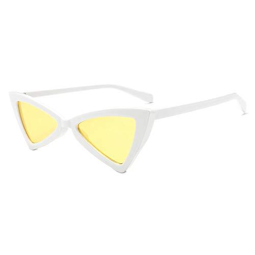 jgashf Sonnenbrillen Cat Eye Sonnenbrille Damen Kleiner Rahmen Dreieck Vintage Cat Eye Frame Shade Brille Acetat Rahmen Uv400 Schutz Sunglass (A)