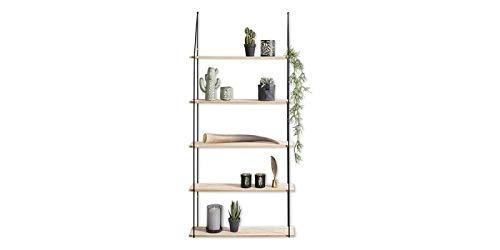 Lifa living mensola da muro vintage | legno e metallo | mensole decorative sospese da parete| per soggiorno, salotto, cucina | diverse misure (5 ripiani)