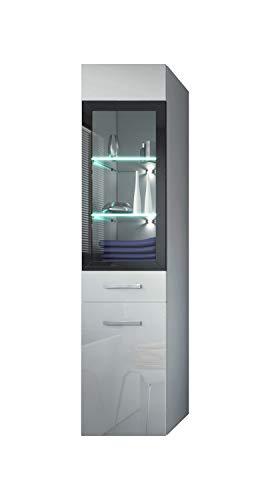 #Badezimmer Schrank Rio 131 cm Hochglanz Weiß Fronten – Regal Schrank Hochschrank Schrank Möbel#