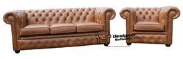 Chesterfield 3 Seater Settee + Club Chair Old English Leather Sofa Suite Offer by Chesterfield