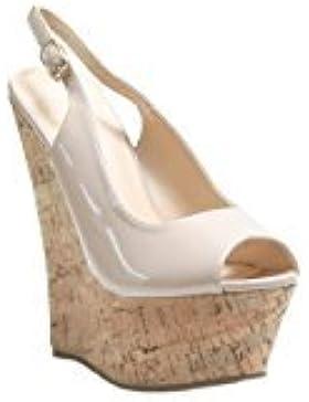 JustGlam- Scarpe donna decolletè sandali in vernice punta aperta con zeppa in sughero comodissimi e leggeri new...