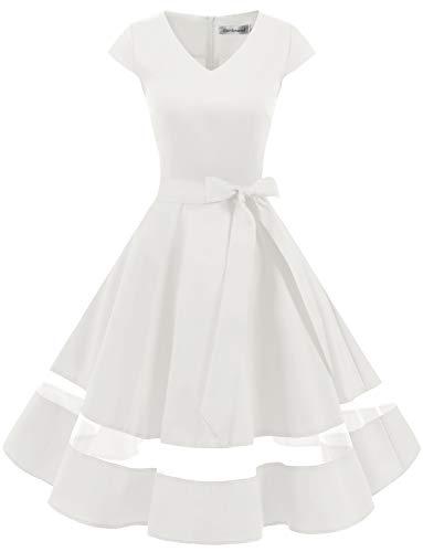 Gardenwed 1950er Vintage Retro Cocktailkleid Cap Sleeves Rockabilly Kleider Damen Schwingen Petticoat Faltenrock White M
