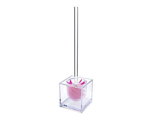 WATERCLOU innovative WC-Bürstengarnitur Silikon ohne Borsten - Stiel und Behälter Acryl transparent mit Sichtschutz pink