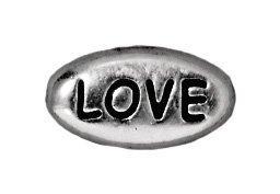 Tierracast Bead Wort LOVE, 6x 10,75mm, Antik rhodiniertes Zinn, 4er Pack - Antike Zinn 60
