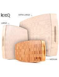 KOOQ Schneidebrett mit Füßen -100% Bambus Chopping Block - DICK, 100% nachhaltiges, Anti-Mikrobielle, Easy-Clean Bambus-Schneidebrett Medium - 12 x 6 Zoll Holz Chopping Block