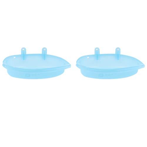 perfk 2pcs Vogel Badehaus Badewanne Badehäuschen für den Käfig - Blau ohne Spiegel