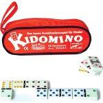 Weico 99055 - Gesellschaftsspiel, Kidomino Double Six, 28 weiße Steine mit farbigen Punkten, Reißverschlusstasche