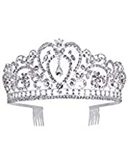 Idea Regalo - Makone Tiara Corona di Cristallo con Strass Pettine per la cerimonia nuziale Corona Prom Dresses Pageants Princess Parties Birthday (Stile pettine 6)