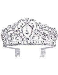 lkrone mit Strass-Kamm für Bridal Crown Hochzeit Proms Festzüge Prinzessin Parties Geburtstag (Kamm Stil-6) ()